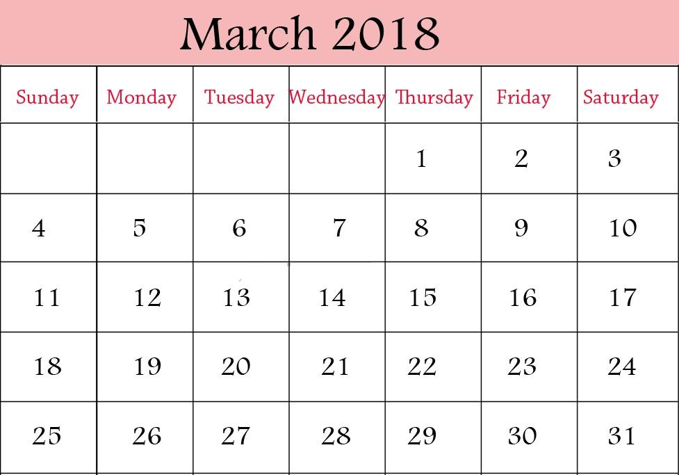 March 2018 Printable Calendar Free Blank Calendar Template - Get - march calendar template