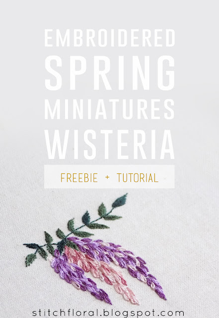 Hand embroidered Wisteria: Free PDF pattern & tutorial