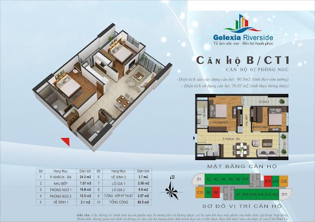 Căn hộ B, 76m, 2 phòng ngủ - CT1 Gelexia Riverside