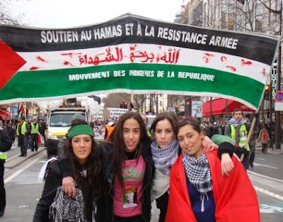 Manifestation en janvier 2009 du Mouvement des Indigènes de la République, soutien du Hamas