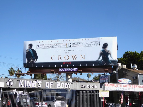 Crown season 2 Golden Globes SAG noms billboard