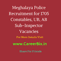 Meghalaya Police Recruitment for 1705 Constables, UB, AB Sub-Inspector Vacancies