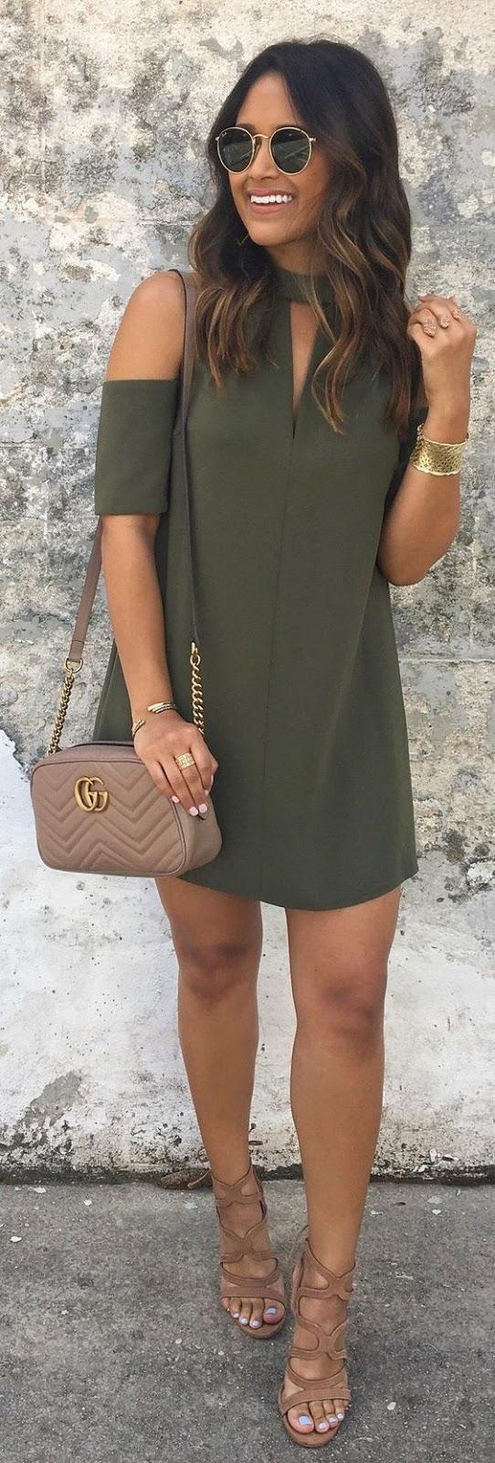 fashionable outfit_khaki dress + bag + sandals