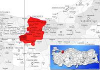 Pamukova ilçesinin nerede olduğunu gösteren harita.