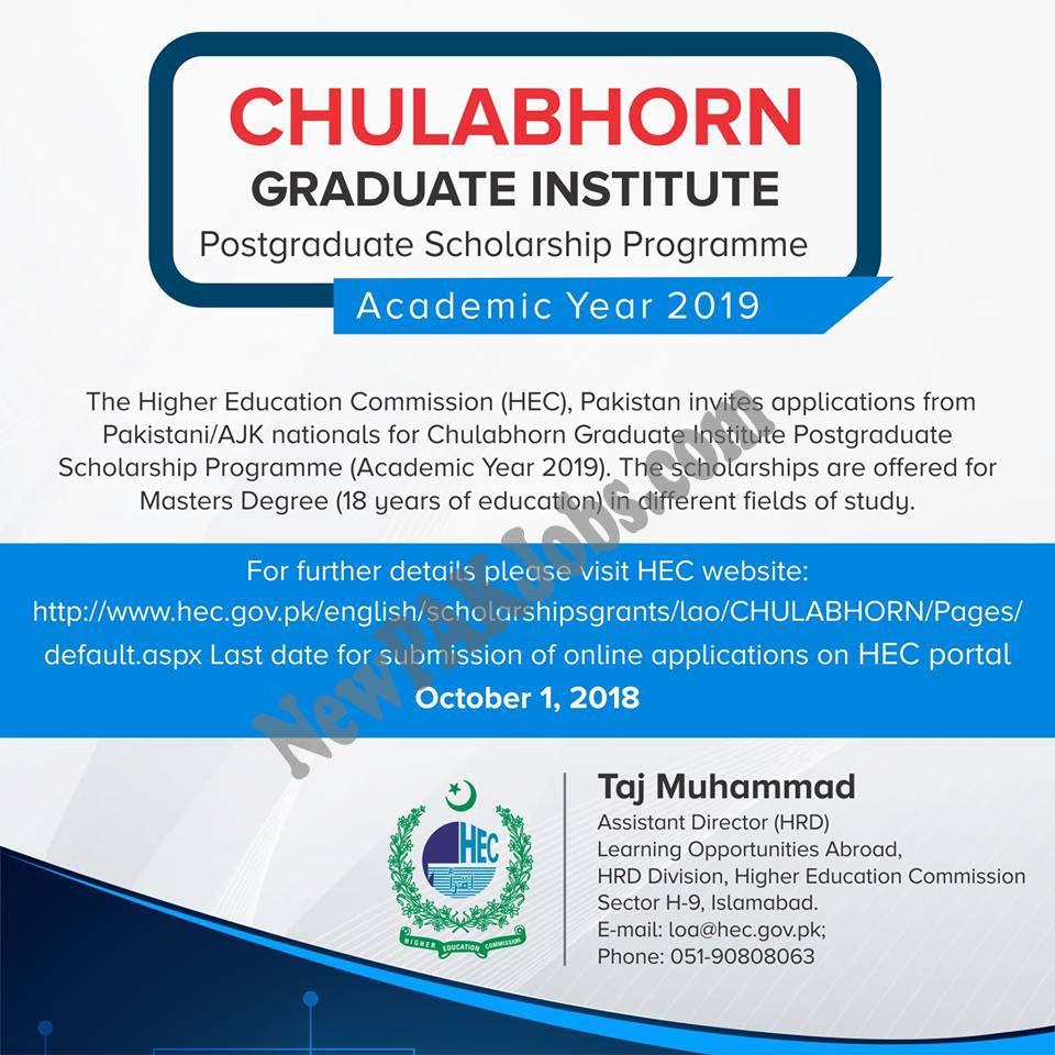 CHULABHORN Graduate Institute Postgraduate Scholarship Programme 2019