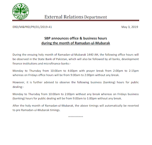 OFFICE AND BUSINESS HOURS OF ALL BANKS DURING HOLY MONTH OF RAMZAN