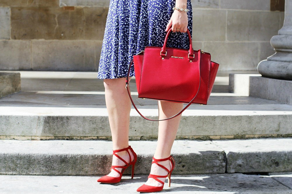 Michael Kors red leather Selma Bag - UK fashion blog