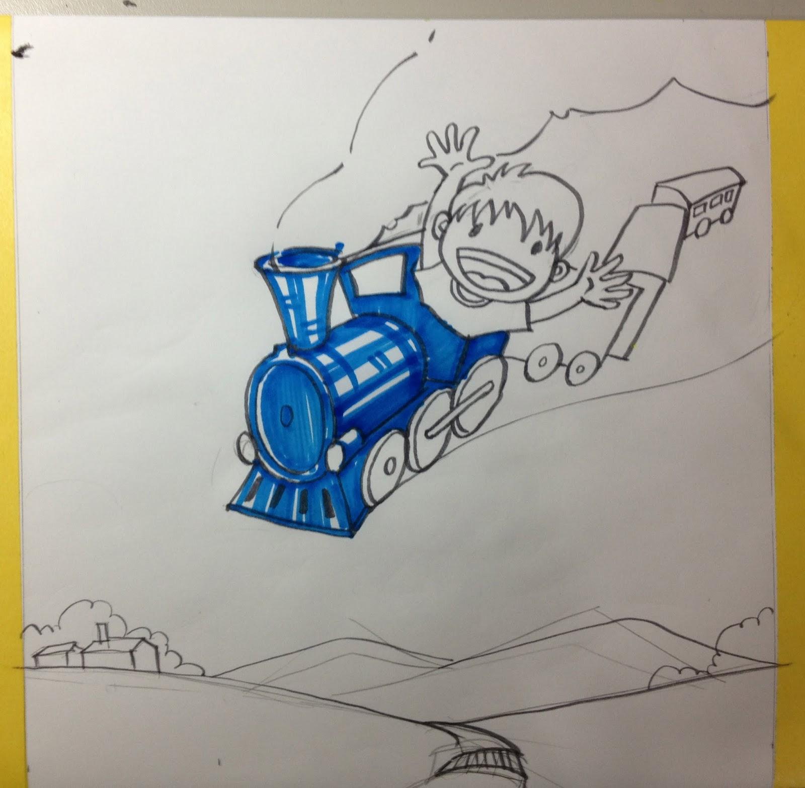 虛線的教學: 虛線老師示範:97學年度專二示範-火車快飛」視覺意象之平面設計