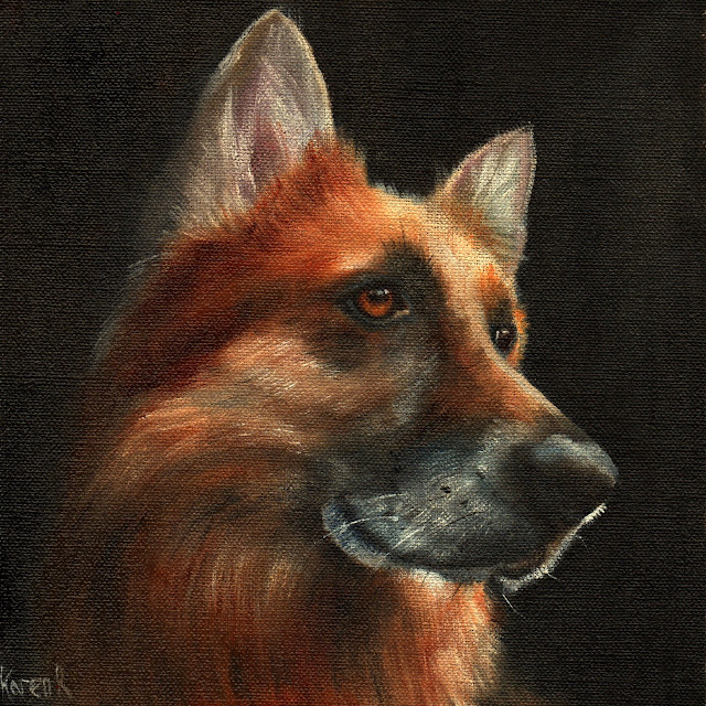 oil painting, portrait of a German Shepherd