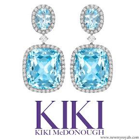 Kate Middleton jewelry Kiki McDonough Blue Topaz and Diamond Drop Earrings