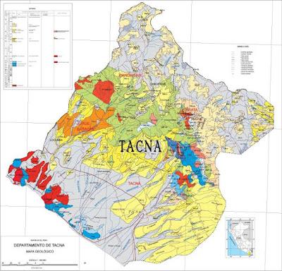 Gráfico del Mapa físico de Tacna a colores y grande