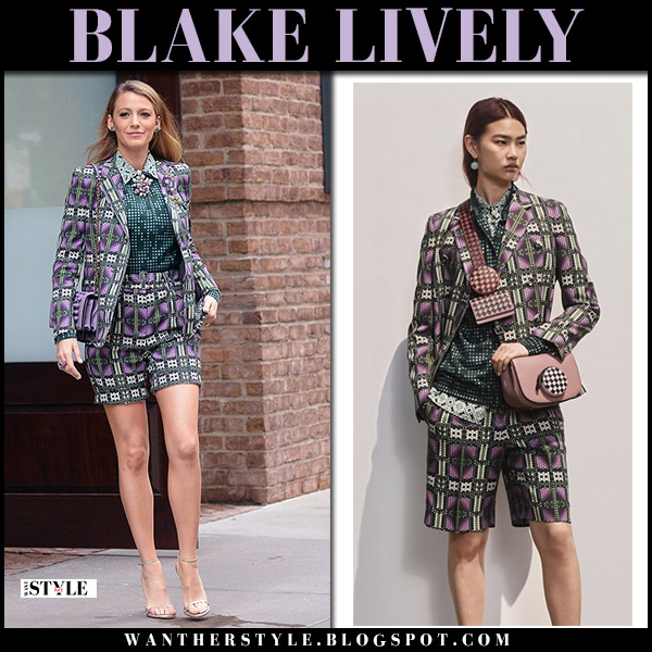 Blake Lively in purple and green printed matching jacket and shorts bottega veneta hollywood style august 17