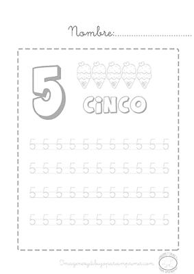 Número 5 punteado para imprimir