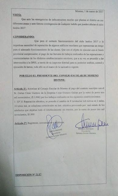 Disposición N° 21/17: Autorización de pago a la empresa Cesar Gustavo Gaitán por trabajos realizados en EP 31