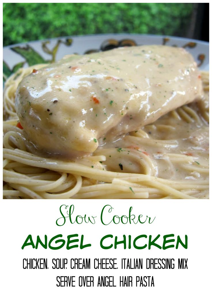 Slow Cooker Angel Chicken - chicken, cream of chicken soup, cream cheese and Italian dressing mix - serve over angel hair pasta or potatoes. So easy and super delicious!