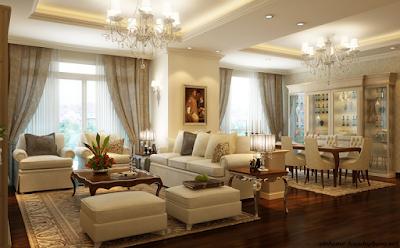 Không gian phòng khách được thiết kế sang trọng và hiện đại