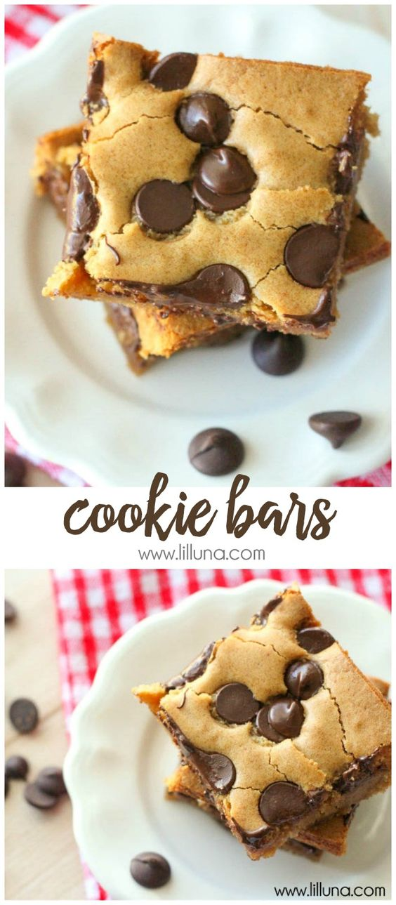 COOKIE BARS #cookie #cookies #cookierecipes #bars #dessert #dessertrecipes #easydessertrecipes Desserts, Healthy Food, Easy Recipes, Dinner, Lauch, Delicious, Easy, Holidays Recipe, Special Diet, World Cuisine, Cake, Grill, Appetizers, Healthy Recipes, Drinks, Cooking Method, Italian Recipes, Meat, Vegan Recipes, Cookies, Pasta Recipes, Fruit, Salad, Soup Appetizers, Non Alcoholic Drinks, Meal Planning, Vegetables, Soup, Pastry, Chocolate, Dairy, Alcoholic Drinks, Bulgur Salad, Baking, Snacks, Beef Recipes, Meat Appetizers, Mexican Recipes, Bread, Asian Recipes, Seafood Appetizers, Muffins, Breakfast And Brunch, Condiments, Cupcakes, Cheese, Chicken Recipes, Pie, Coffee, No Bake Desserts, Healthy Snacks, Seafood, Grain, Lunches Dinners, Mexican, Quick Bread, Liquor