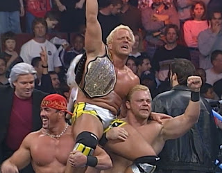 WCW Spring Stampede 2000 - Jeff Jarrett celebrates his WCW title win with The New Blood