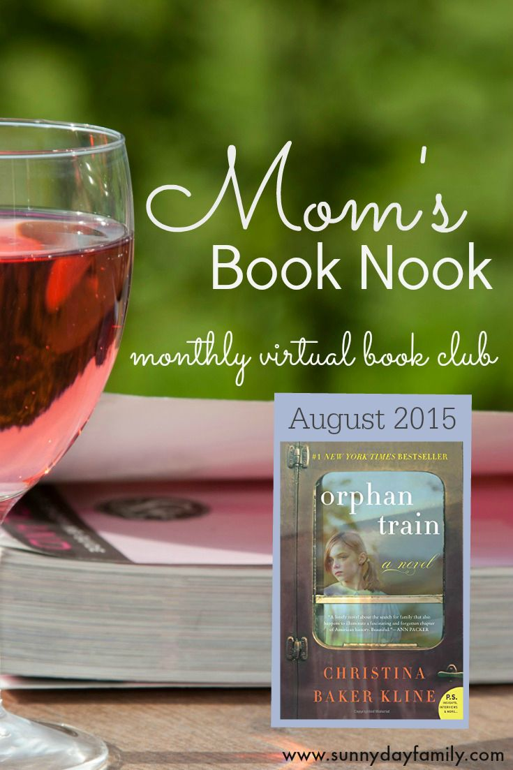 Join us for Mom's Book Nook, a monthly virtual book club featuring Orphan Train by Christina Baker Kline!