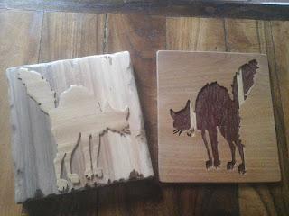 ritratto gatti di legno realizzato con seghetto da traforo elettrico