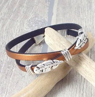 Kit bracelet cuir homme cuivre et argent plumes