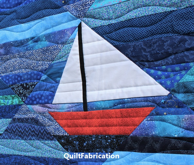 improv string sailboat by QuiltFabrication