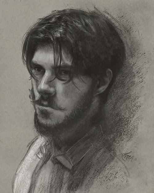 08-Self-portrait-Charcoal-and-Graphite-Portrait-Drawings-www-designstack-co