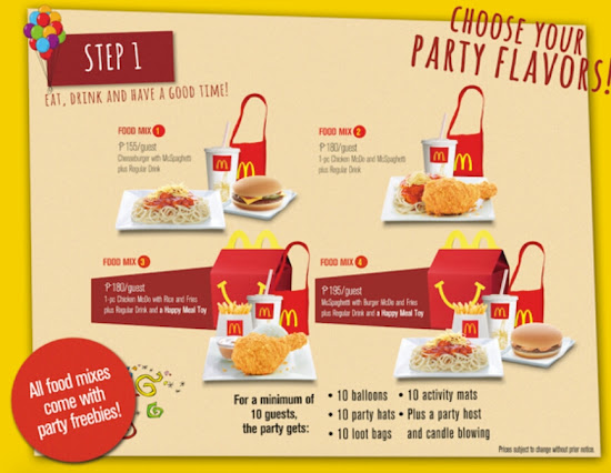 Food packages for McDo Party