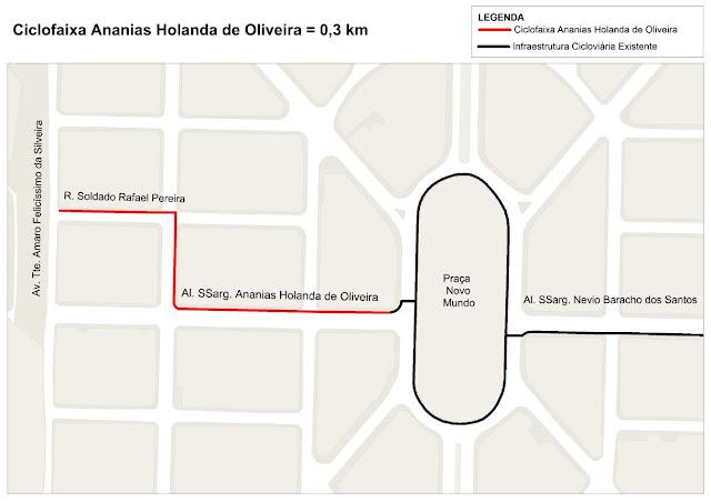Mapa da Ciclovia da Alameda Segundo-Sargento Ananias Holanda de Oliveira
