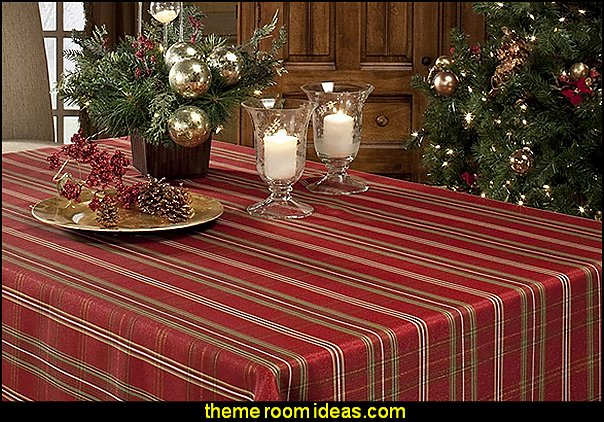 Christmasville Metallic Fabric Tablecloth