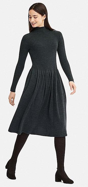 d0f29c8b727 2) Women 3D Fine Merino Ribbed Long-Sleeve Dress - Designed seamless