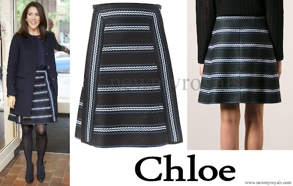 Danish Crown Princess Mary wore Chloé Striped Woven Skirt