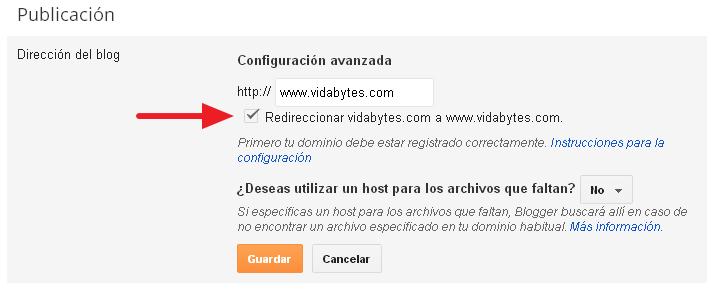 Redireccionar dominio Blogger