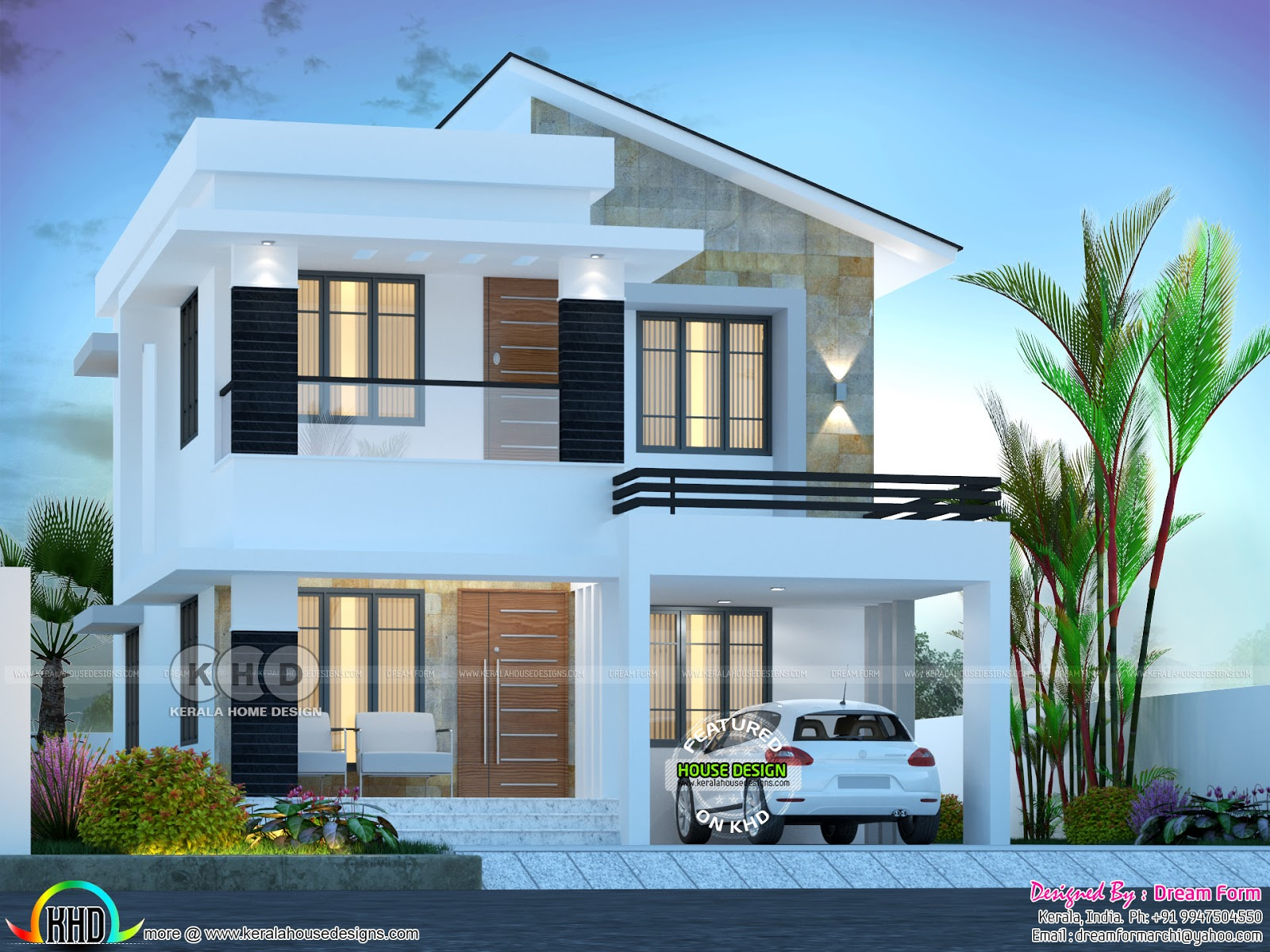 3 Bedroom 1750 Sq Ft Beautiful Modern Home Design Kerala Home Design And Floor Plans 8000 Houses