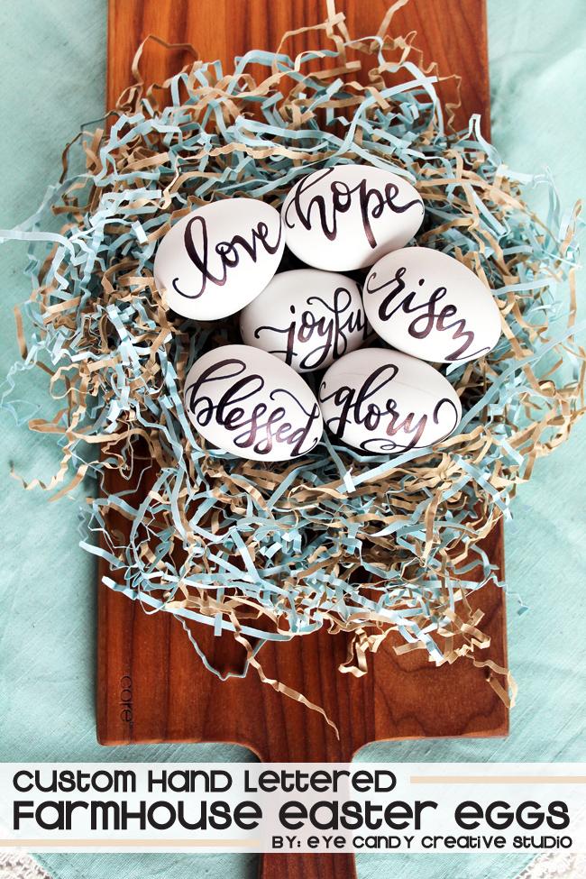 personalized eggs, farmhouse decor, faith based eggs, hand lettering