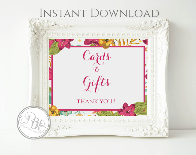 tropical watercolour card gift sign pink hibiscus-island wedding-by rbh designer concepts