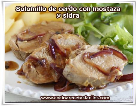 Recetas de carnes, solomillo de cerdo con mostaza  y sidra