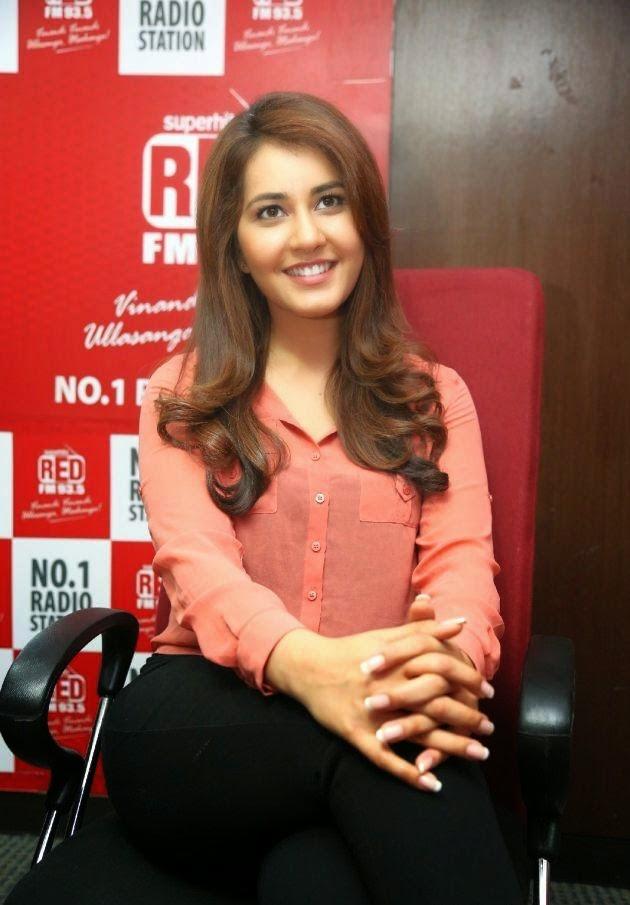 Glamours Telugu Actress Rashi Khanna hot Stills In Pink Shirt At Red FM