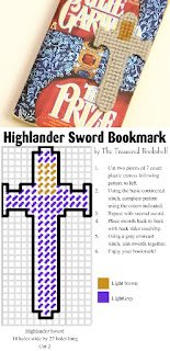 Mark your place in your Scottish historical romance with a plastic canvas sword bookmark.  The bookmark is based on one of our favorite highlander Connor MacLeod's sword.  Click to save the free pattern and start sewing right now.