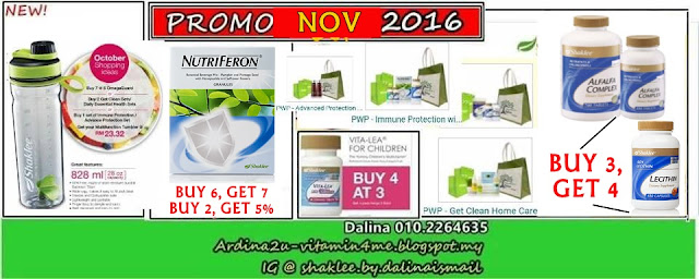 Promo SHAKLEE NOV 2016. Nutriferon, Lecithin, Alfalfa Complex, Vitalea for Children, Women Health (Pranatal, Postnatal, Gorgeous, Amazing Golden), Detox, Immune Set