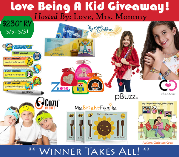Love Being a Kid Giveaway Ends 5/31