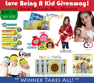 Enter the  Love Being A Kid Giveaway. Ends 5/31