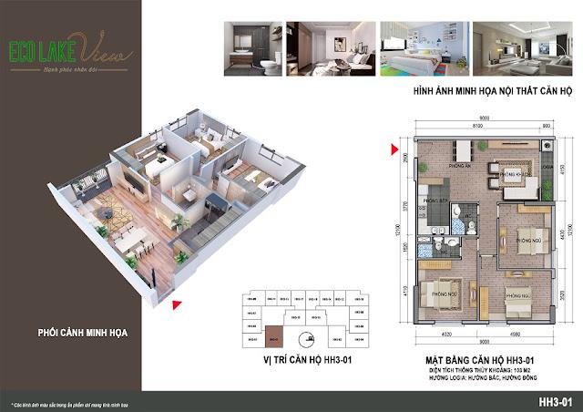 Thiết kế căn hộ 01 tòa HH3 chung cư Eco Lake View
