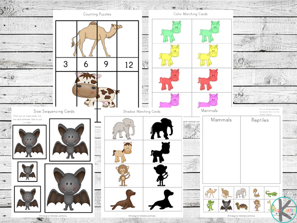 skip counting, color worksheets, shape matching, cut and paste, size sequencing and other kindergarten worksheets