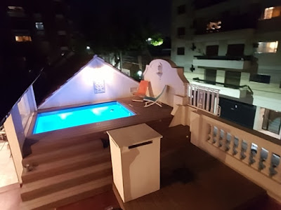 Terrace pool at night