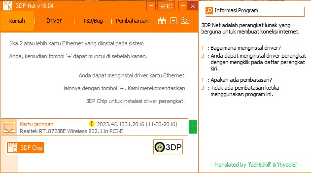 Download 3DP Net Software Untuk Installer Driver Wifi PC