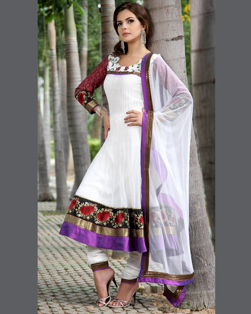 Fashion World Latest Fashion: White Churidar Summer Frocks