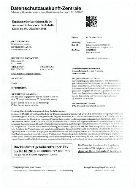 Scan: DAZ Datenschutzauskunft-Zentrale / Offerte Seite 2 / Okt 2018