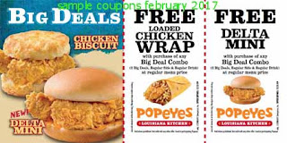 free Popeyes Chicken coupons for february 2017