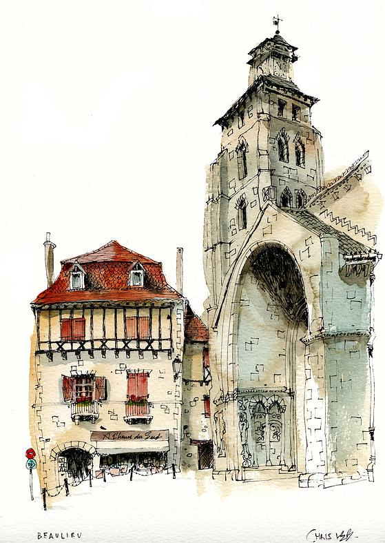 05-France-Beaulieu-Abbey-Chris-Lee-Charming-Architectural-wobbly-Drawings-and-Paintings-www-designstack-co